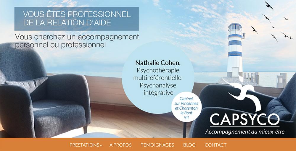 Création du site web de Capsyco, psychopraticienne-Chlorofeel.com Elisa Morgand
