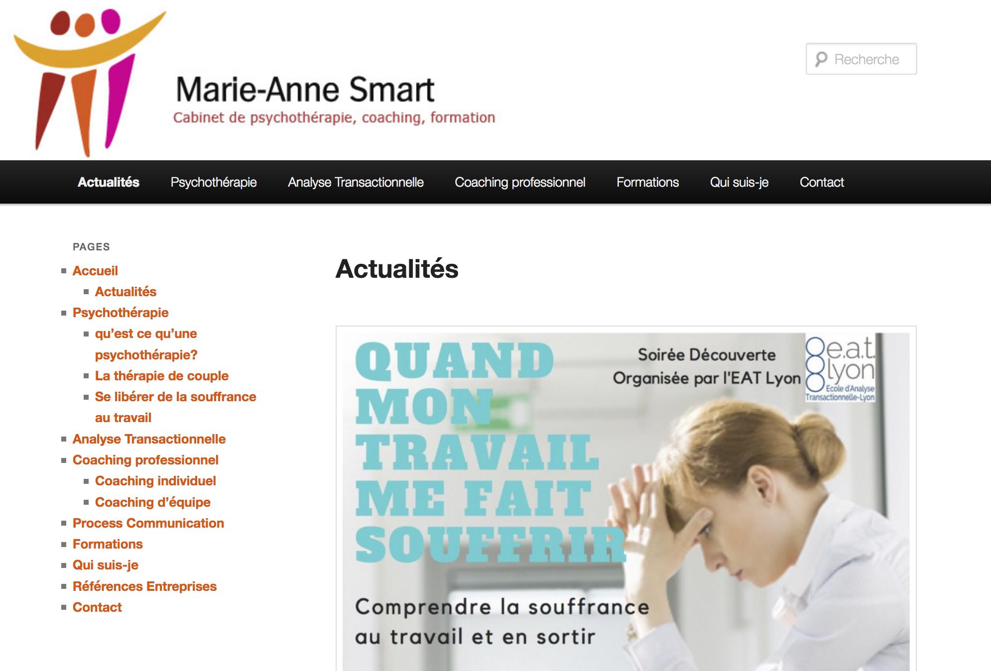 Création du site web de Marie Anne Smart, psycho-praticienne, par Elisa Morgand Chlorofeel